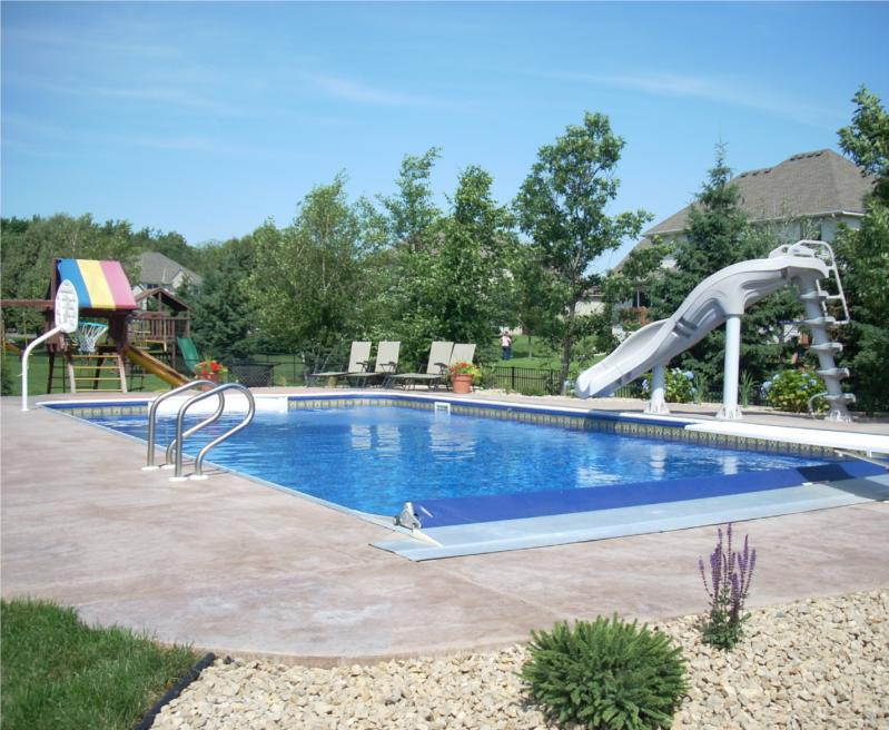 In Ground Pools With Slides Inground Pool Slide Parts Concrete Coping Free Formed Shape Built In